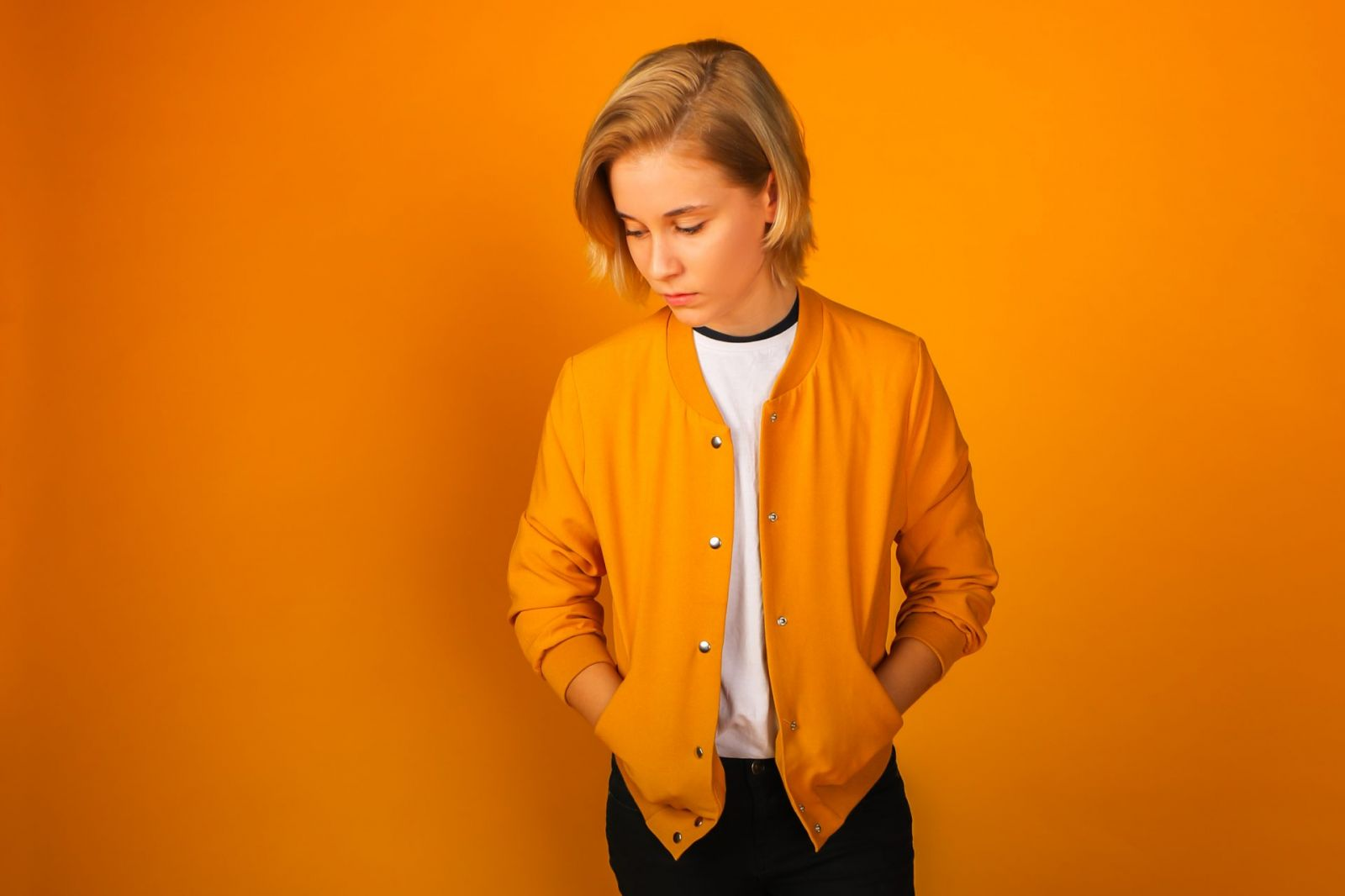 Fashion Portrait Girl in Yellow on Yellow Background